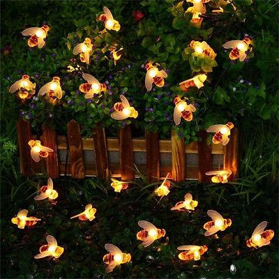 30 LED Solar Powered String Honey Bee Shape Warm Light Garden Decor (Bee Raincoat)