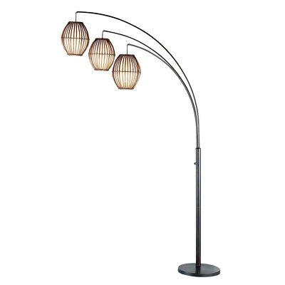 "Adesso Maui 82"" Tall Antique Bronze Arc Tropical Influence Bohemian Floor Lamp"