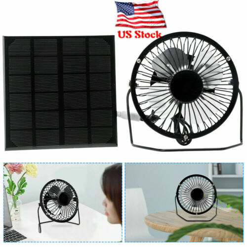 """6"""" 3W Solar Panel Cooler Cooling Fan ,Portable Travel Air Co"""