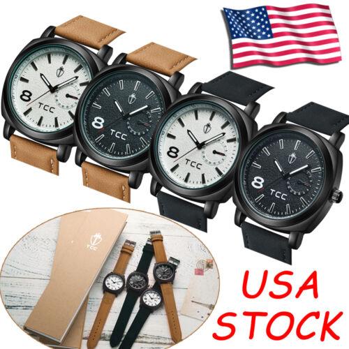 $5.96 - Military GIFTBOX CURREN TCC Quartz Wrist Watch Men's Leather Strap Sport Luxury