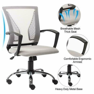 Ergonomic Swivel Chair Mid Back Computer Office Mesh Chair Heavy Duty Metal Base
