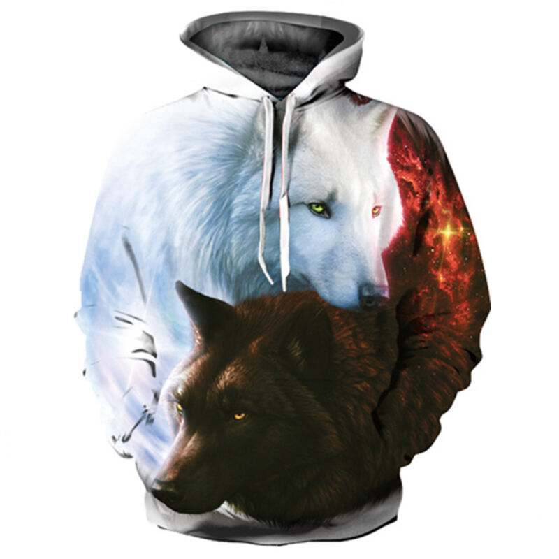 Men Women Animal Graphic 3D Wolf Print Hoodie Sweatshirt Pul
