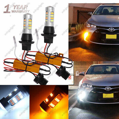 2X LED Signal Switchback Parking Lights W/ Resistor Front DRL for Toyota Camry