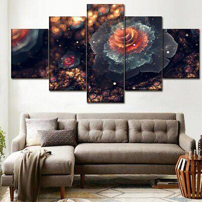 Abstract Fractal 3D Flower 5 Piece canvas Wall Art Print Picture Home (3d Canvas Art)