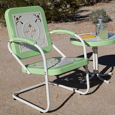 Retro Metal Arm Chair Vintage Style Deck Porch Garden Patio Pool Chair Furniture
