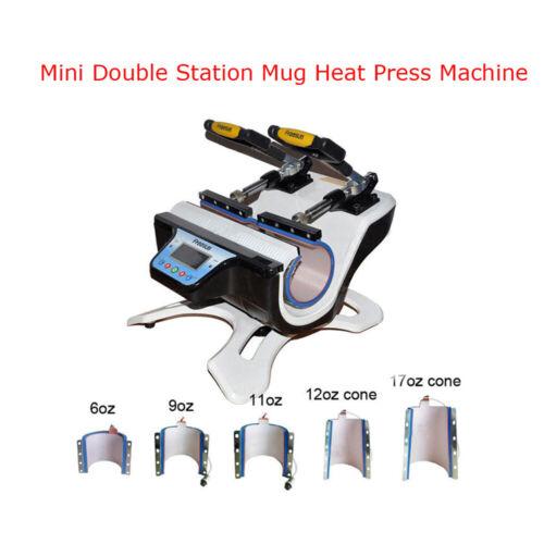 Intbuying New 5 in 1 Combo Mini Automatic Double Station Mug Heat Press Machine