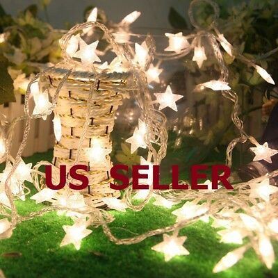 Warm White 10/20/30/40LED Indoor Christmas Party Decor String Star Fairy Lights (Star String Lights)