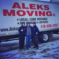 416-889-5167 -- ALEKS MOVING -- FREE ESTIMATES -- FAMILY OWNED!!