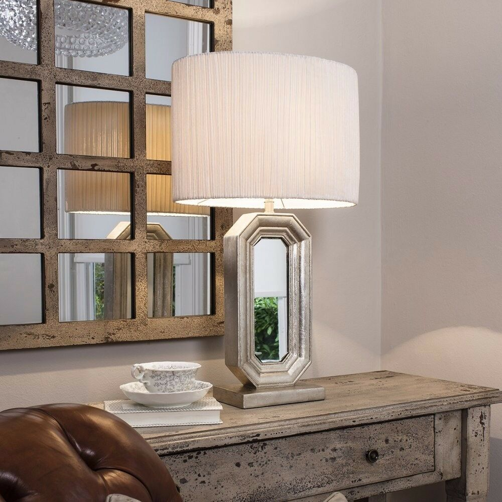 1 x Sabino Mirrored inset Table Lamp with White Oval Shade by Gallery Direct