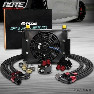 "30 Row Universal  Engine Transmission 10AN Oil Cooler+ 7"" Inch Electric Fan Kits"