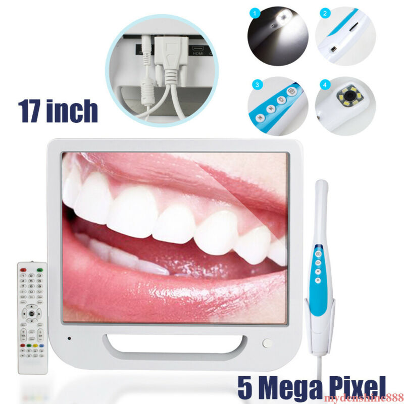 "Dental 6 LED Intraoral Camera 5MP High Resolution 17"" Digital AIO Monitor System"