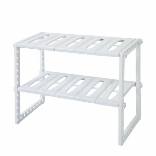 2-Tier Kitchen Sink Rack Classic Stainless Steel Multi-functional White