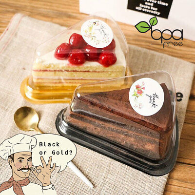Clear Lid Black Gold Base PET Holder Pie Cake Tart Slice Wedge Boxes Containers - Plastic Cake Containers