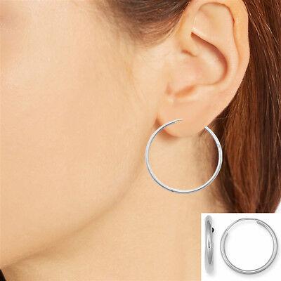 Sterling Silver Jumbo Endless Hoop Earrings 40mm X 2mm Wide Hoops Tubular