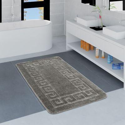 Moderner Badezimmer Teppich Bordüre Badvorleger Rutschfest Badematte In Grau Rutschfest
