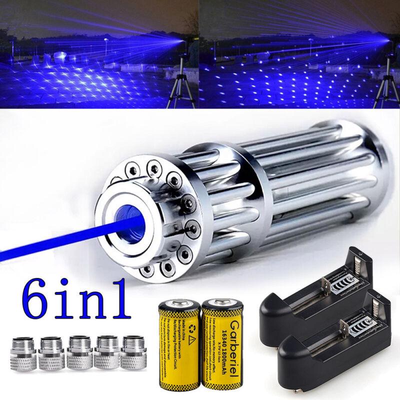 Military 405nm High Power Blue Laser Pointer Visible Beam Light Pen + 5 Caps