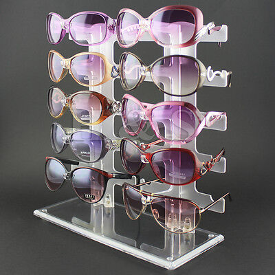10 Pair Acrylic Sunglasses Glasses Retail Shop Display Unit Stand Holder Case W