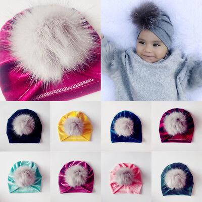 Baby Toddler Girls Boys Infant Warm Winter Turban Beanie Hat Velvet Fur Ball Cap - Infant Ball Caps