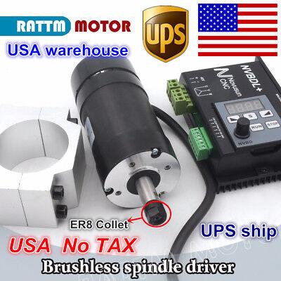 Us400w Brushless Spindle Motor Er8 600w 60v Dc Driver Nvbdl 55mm Bracket
