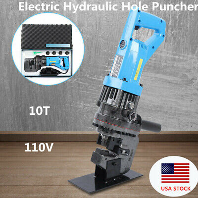 Electric Hydraulic Knockout Punch Hole Puncher Steel Plate Punching 10t W Dies