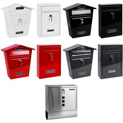 Post Box Steel Large Wall Mounted Mailbox Letter Square House Key Lock Outdoor Locking Mail House Mailboxes
