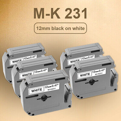 5pk Mk231 M-k231 Label Tape For Brother P-touch Label Maker 12mm Black On White