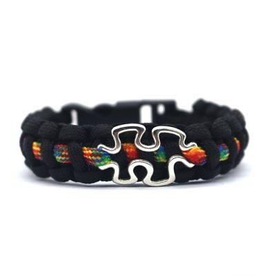 Autism Awareness Puzzle Design Paracord Bracelet Black