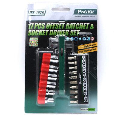 Proskit 17pcs Offset Ratchetsocket Driver Set High Torque Two Way Ratchet