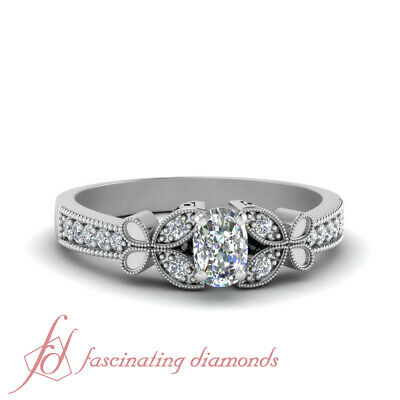 Pave Set Butterfly Engagement  Ring With Cushion Cut Diamond In Center 0.65 Ctw