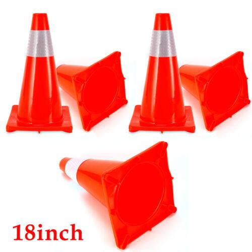 5 Pack 18 inch Safety Traffic Cones Fluorescent Orange Reflective Collar USA