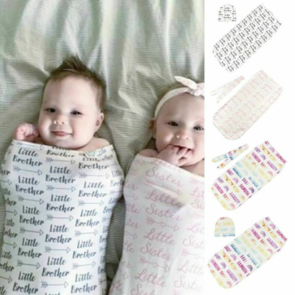 Newborn Baby Boy and Girl Rainbow Sleeping Swaddle Blanket W