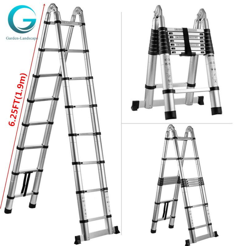 12.5FT Step Ladder Extension Telescoping  Portable Folding Telescopic US