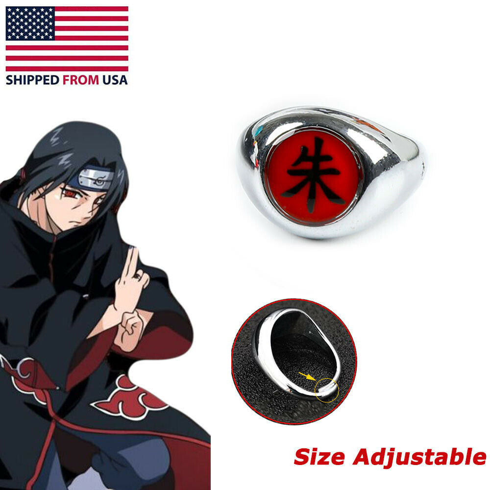 Naruto Itachi Uchiha Rings NARUTO Zhu Alloy Finger Ring Akatsuki Cosplay Animation Art & Merchandise