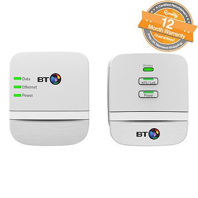 BT Mini Wi-Fi Home Hotspot 600 Kit Powerline Adapter Pack of 2 in White