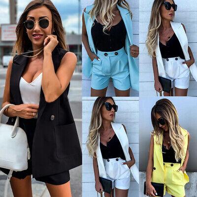 Women 2Pcs Blazer Suit High Waist Shorts Ladies Office OL Co-Ord Set Hot Pants