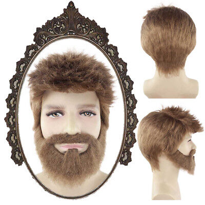 Brown Short Wig with Beard Cosplay Thor: Ragnarok Halloween Party Costume HM-596