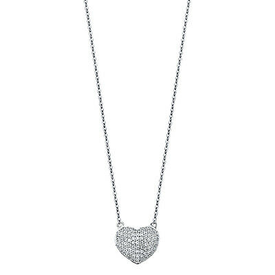14K Solid White Gold Paved Puffed Heart with Diamonds Pendant Necklace Chain (14k Solid White Gold Chandelier)
