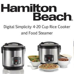 Hamilton Beach 37541 Digital Simplicity 4-20 Cup Rice Cooker and Food Steamer Condtion: Lightly Used, 20 Cup, Silver