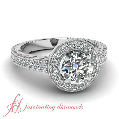 Halo Engagement Ring Pave Set 1.10 Ct Round Ideal Cut FLAWLESS Diamond 14K GIA