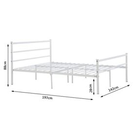 Double bed frame, white metal, broken!