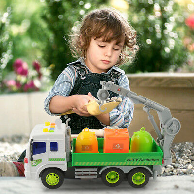 Friction Powered Garbage Truck Toy City Sanitation Vehicle With 3 Trash Can Kids (Toy Garbage Cans)