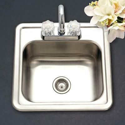 Drop In Single Bowl - Drop-In Kitchen Sink Single Bowl Stainless Steel Hospitality Series Bar / Prep