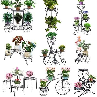 Metal Pot Plant Stand Garden Decor Flower Rack Outdoor Indoor Wrought Iron Black (Metal Stand)