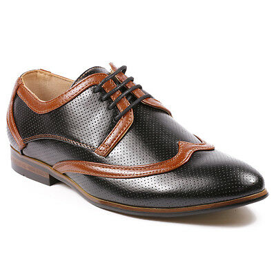Perforated Wing Tip - Majestic Men's Perforated Wing Tip Lace Up Oxford Dress Shoes MJ36981