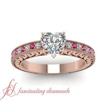 3/4 Ct Heart Diamond And Pink Sapphire Rose Gold Engagement Ring For Women GIA 1