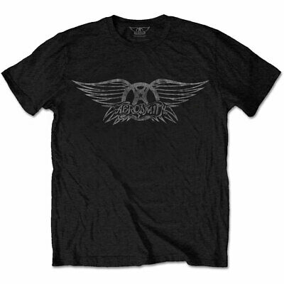 Official Aerosmith T Shirt Vintage Logo Black Mens Classic Rock Metal Tee Unisex