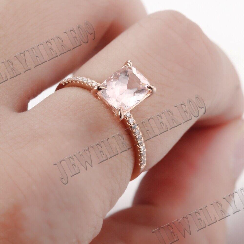 Fine Jewelry Sterling Silver Morganite Diamonds Gemstone Engagement ...