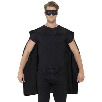 Schwarz Superhelden Umhang und Maske Bösewicht Hero Kostüm - Bösewicht Superheld Kostüm
