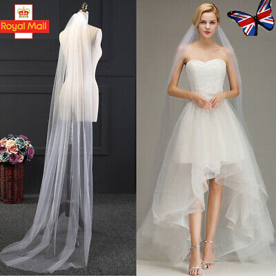 UK White 80CM/2M Long Prom Gown Simple Wedding Bridal Veil Cathedral With Comb