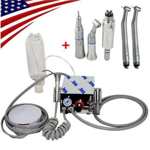 Dental Portable Air Turbine Unit no Compressor 4 Hole + High Low Speed Handpiece